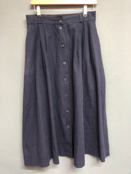 Vintage St Michael Blue Skirt with Button Detail Size 10/12