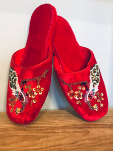 Red Velvet Embroidered Slippers 3