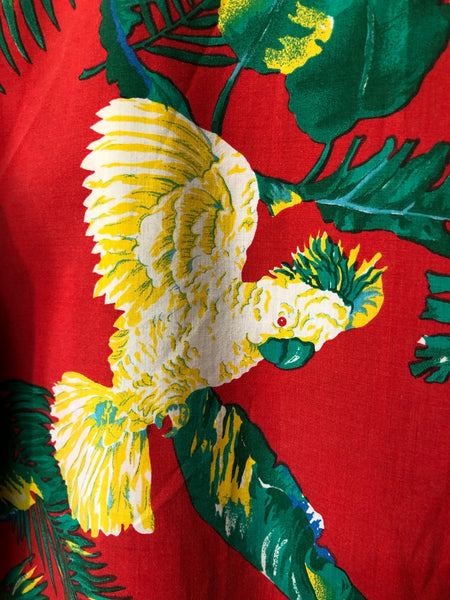Hawaiian Inspired Tropical Bird Print Shirt  Size M