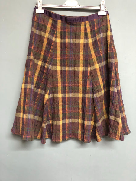 Boden Purple Checked Skirt  Size 12