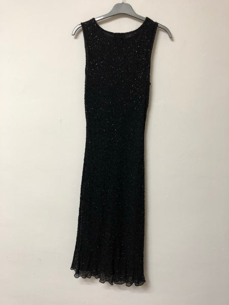 Wallis Petite Black Beaded Dress Size 14