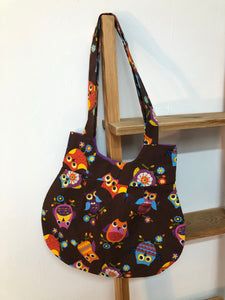 Handmade Brown Owl Printed Bag with Gold contrast lining