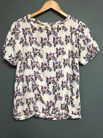 White Stuff Bird Print Top Size 10