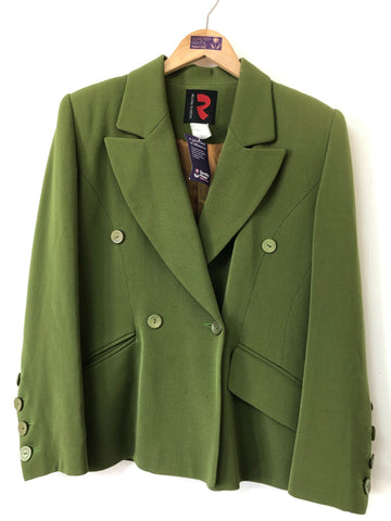 Ladies Regina Rubins Pea Green Tailored Jacket Size M
