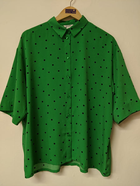 Monki Green and Black Polka Dot Boxy Blouse M