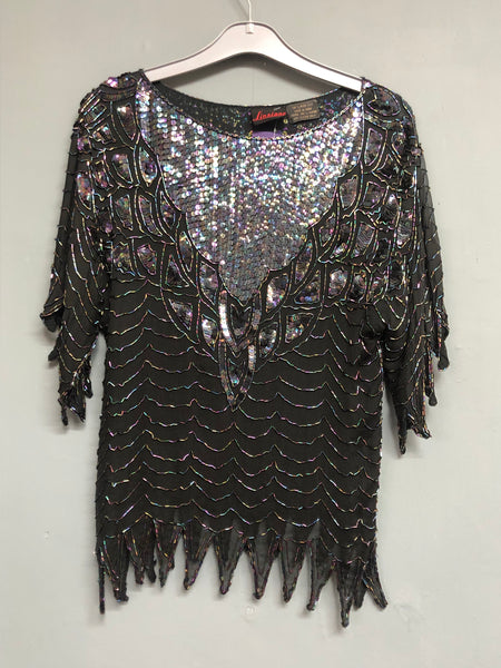 Linsiana Vintage Sequin Detail Top 100% Pure Silk Size S