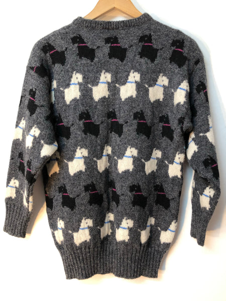 Navy Vintage Knit Pics Scottie Dog Pattered Pure New Wool Sweater  Size 12/14
