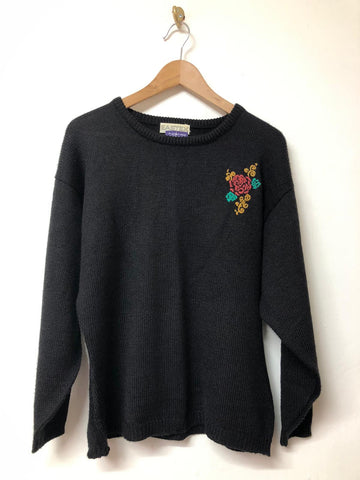Black Knitted Jumper with embroidery Eastex size 10