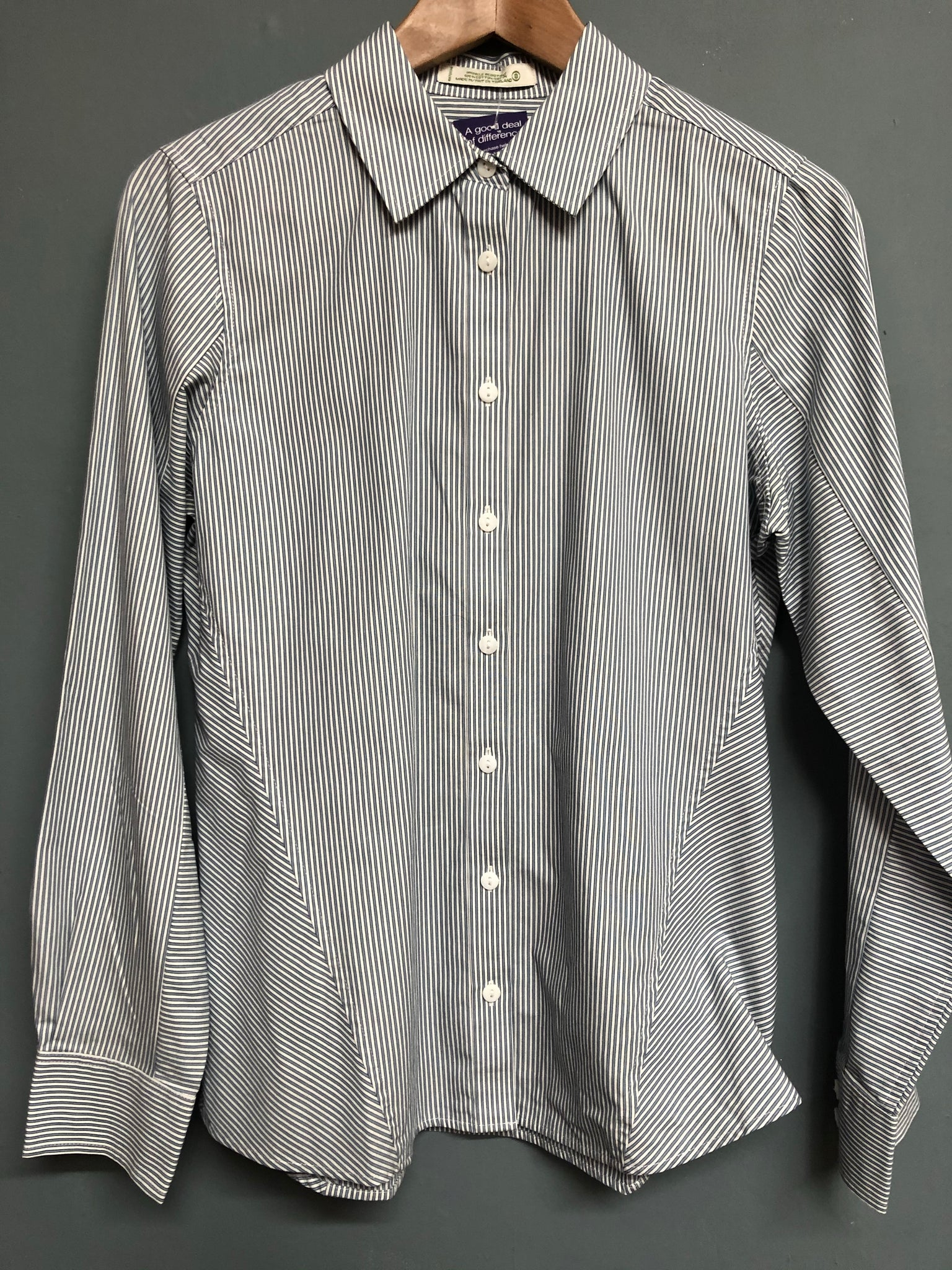Orvis Blue and White Stripe Shirt Size 8