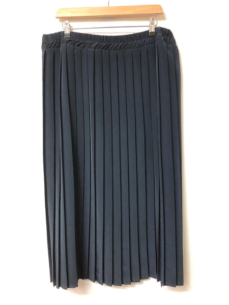 Vintage Dorothy Perkins Navy Pleated Maxi Skirt Size 18