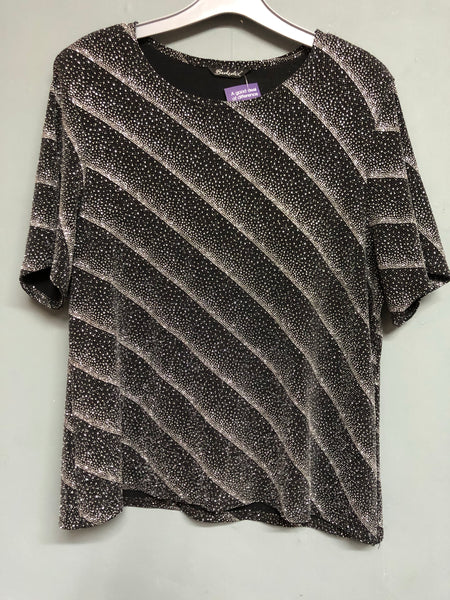 Metallic Black Shimmer Top Size 16