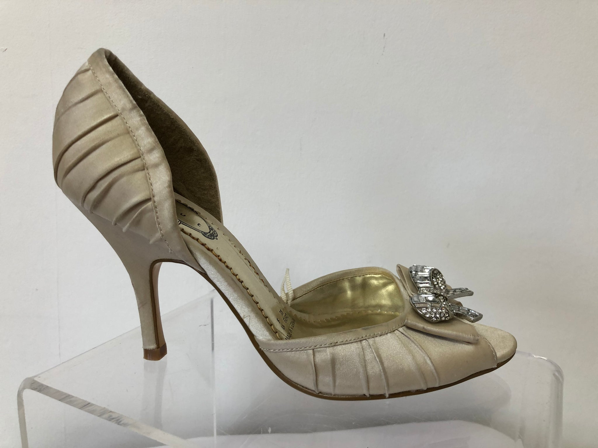 Ladies Debut Pale Gold Open Toe Court Shoes Size 38 UK 5