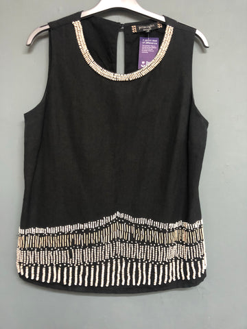 Black Beaded Detail Short sleeve Top Size 12