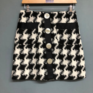 Black and White Houndstooth A-Line Mini Skirt Size 8