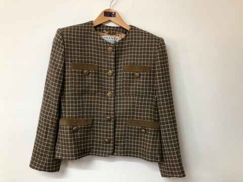 Ladies Jaeger Pure New Wool Caramel and Charcoal Check  Jacket Size 14
