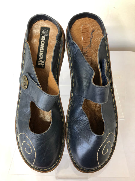 Ladies Romika Blue Summer Flat Slip on Shoe Size 42 UK 8/9
