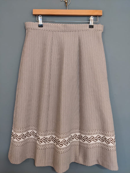 Cream and Brown Print St Michael Skirt 12