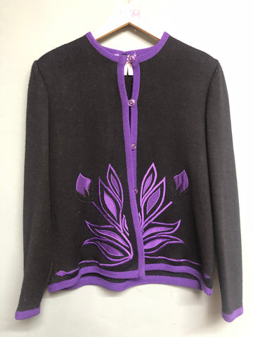 Black and Purple Knitted Jumper Size 16
