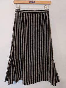 Vintage Black and Grey Stripe Wool Lined Midi Skirt 8