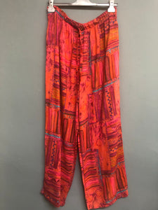 Wide Leg Harem Style Print Trousers Size 14