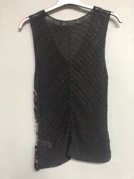 M&S Black Knitted Sequin top Size 12