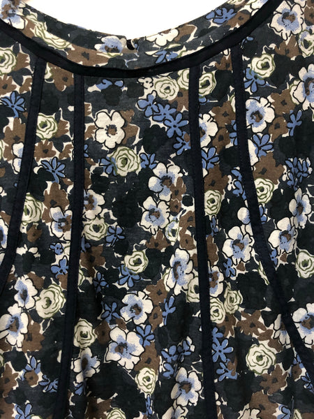 Blue, Green and Brown floral top size M