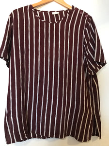 1990s Style Burgundy Striped Top 16