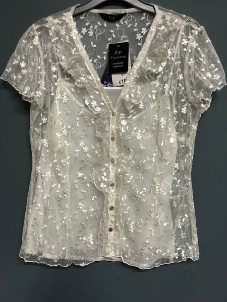 Cream Sheer Floral Top with Vest Size 16 BNWT