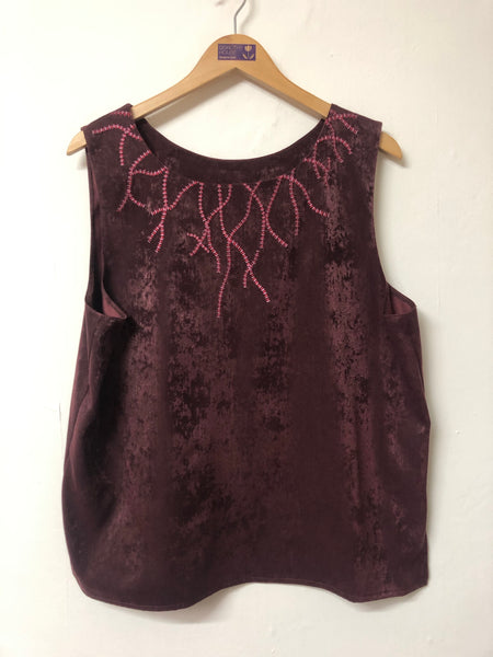 Sleeveless Burgundy Top with Neck detail Size 18