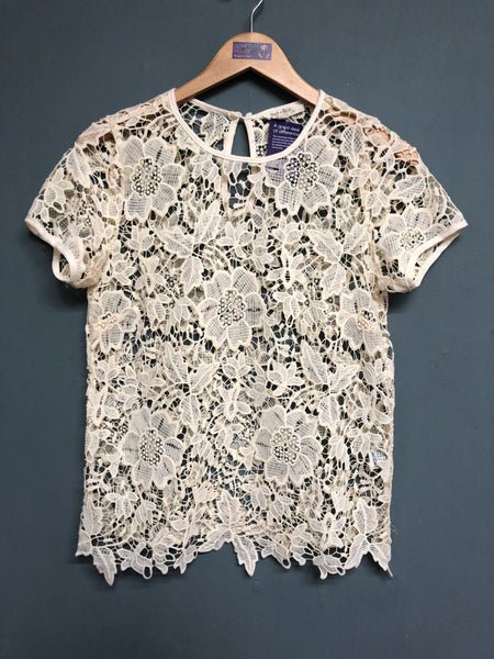 Rebellion Cream Lace Style Top size M
