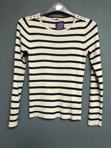 Esprit Cream and Blue Knitted Striped Jumper Size S