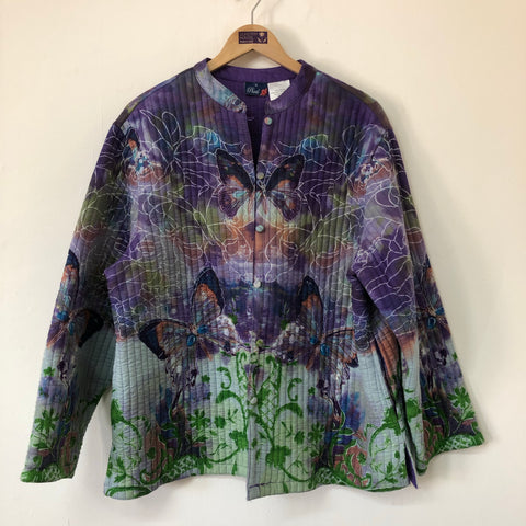 Ladies Phool Quilted Reversible Jacket in a Purple Butterfly Print Design Size 16