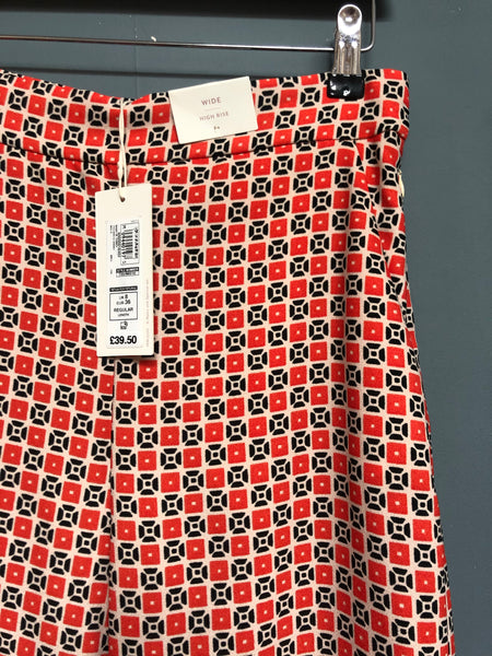 M&S Per Una Geometric Print Ladies Trousers Size 8 BNWT