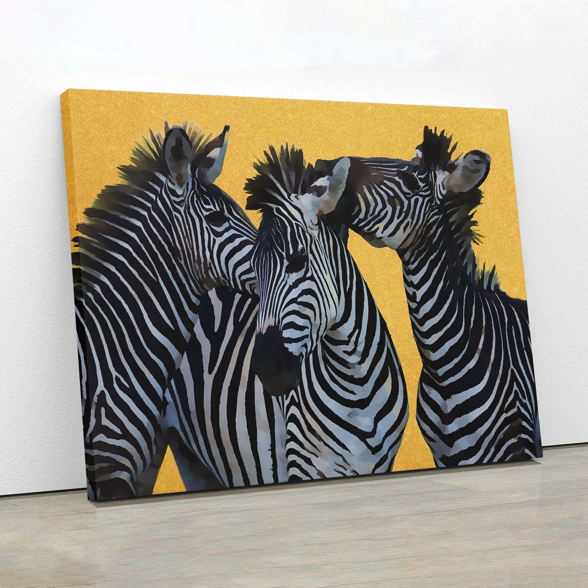 Zebras In Gold Canvas Wall Art