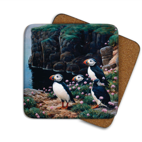 High-Quality Puffins Cliff Edge Coaster