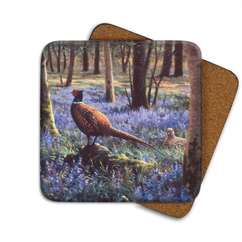 High-Quality Pheasant in Bluebells Coaster