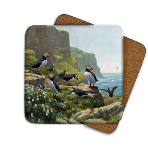 High-Quality Puffins Roosting Coaster