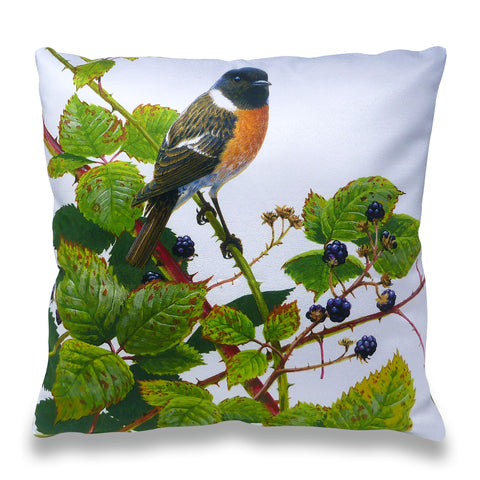 Stonechat Brambles Scatter Cushion