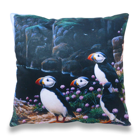 Puffins Cliff Edge Scatter Cushion
