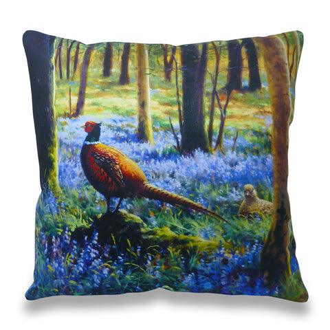 Pheasants in Bluebells Scatter Cushion
