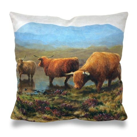 Highland Cattle River Scatter Cushion