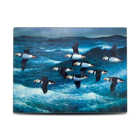 Puffins in Flight Glass Chopping Board