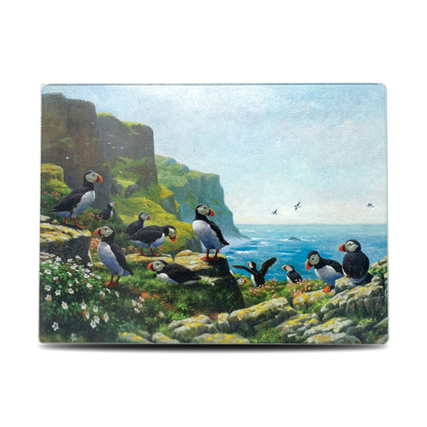 Puffins Roosting Glass Chopping Board
