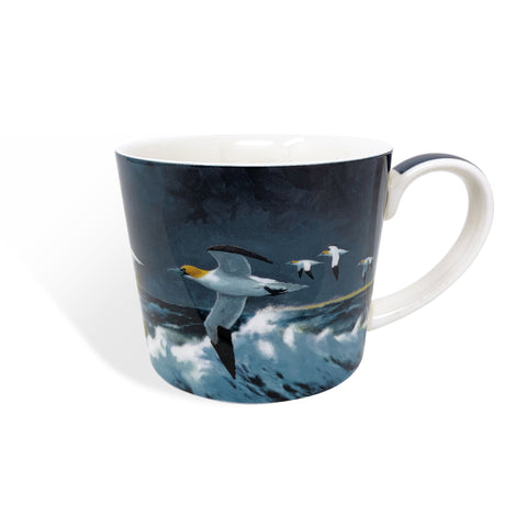 Gannets flying bone china mug