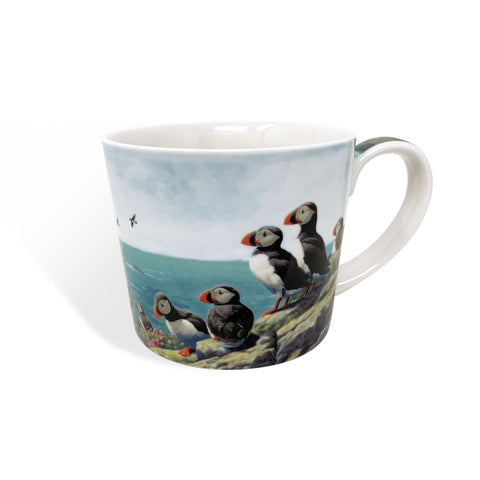 Puffins Roosting bone china mug