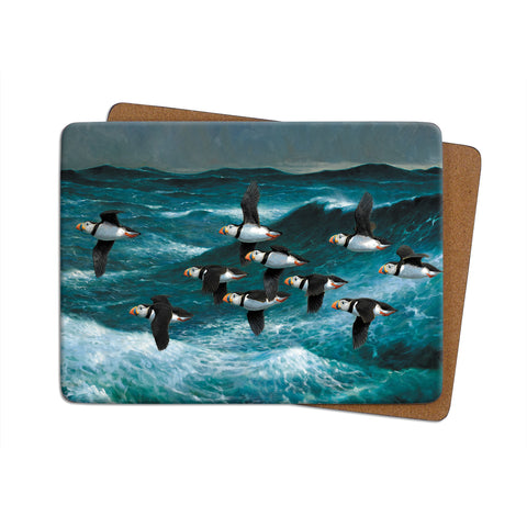 High-Quality Puffins in Flight Placemat