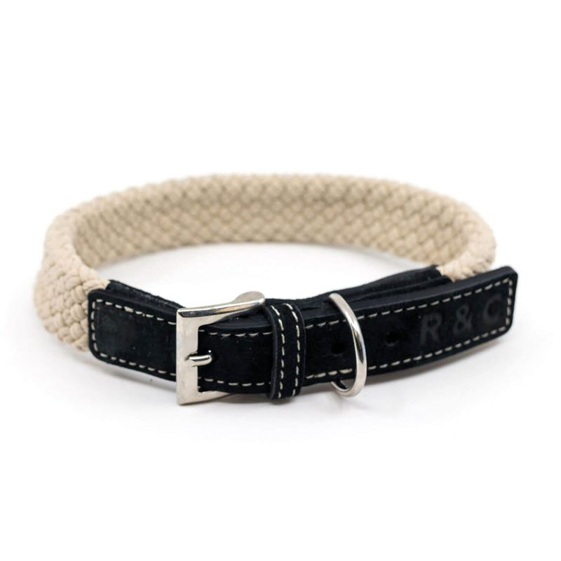 RALPH & CO DOG COLLAR FLAT ROPE CHARCOAL