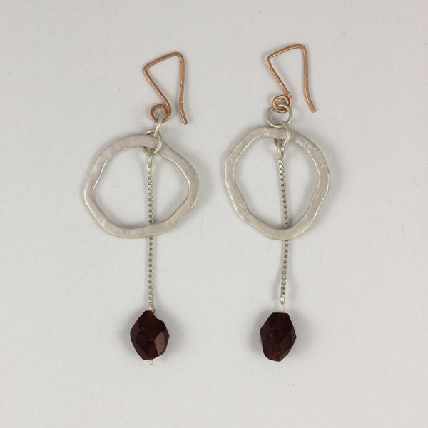 Small Cheers Earrings with Red Garnets