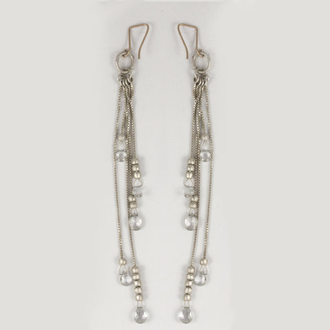 White Topaz Shoulder Duster Earrings