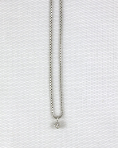 2pt Diagonal Square Bezel Necklace